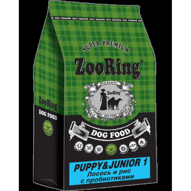 Zooring Puppy&Junior 1 ЛОСОСЬ И РИС с пробиотиками