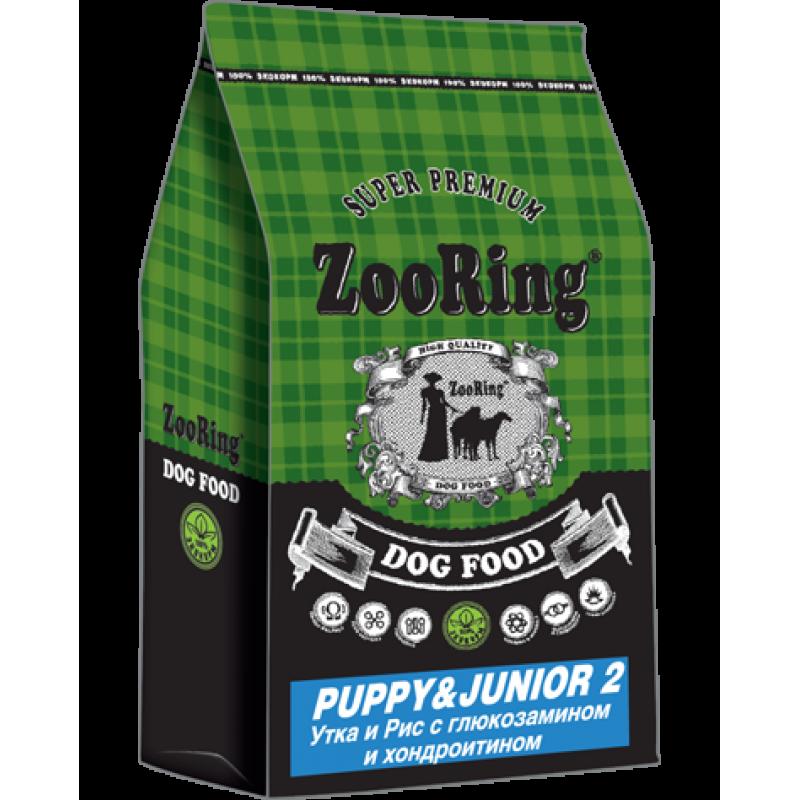 Zooring Puppy&Junior 2 УТКА И РИС с глюкозамином и хондроитином
